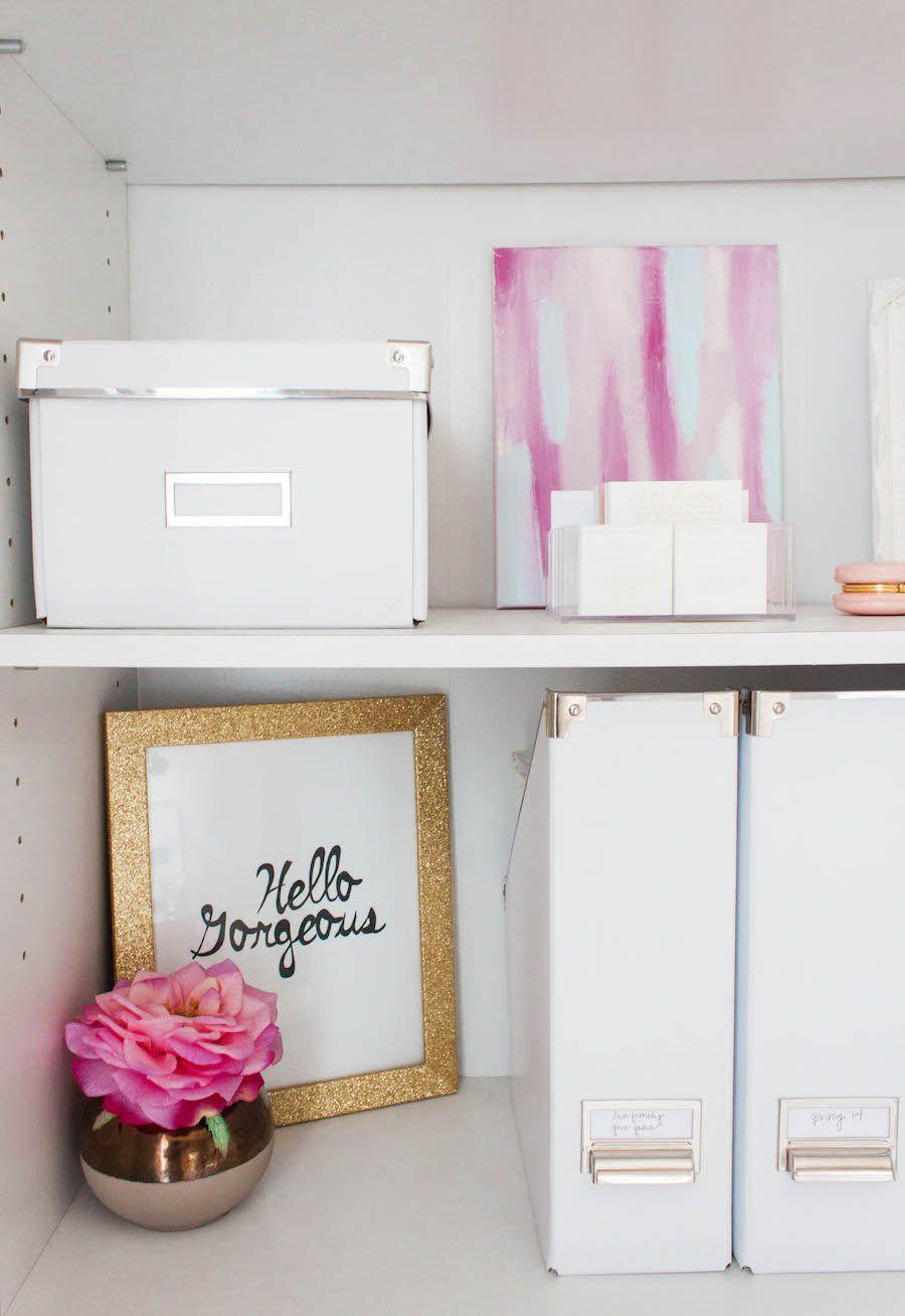 A Dreamy Pink & Gold Office | Pinterest | Pink gold office, Shelving ...