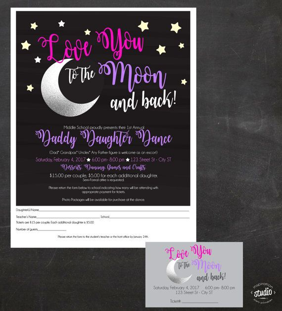 Daddy-Daughter Dance - Love You to the Moon and Back - Event - Printable Event Tickets