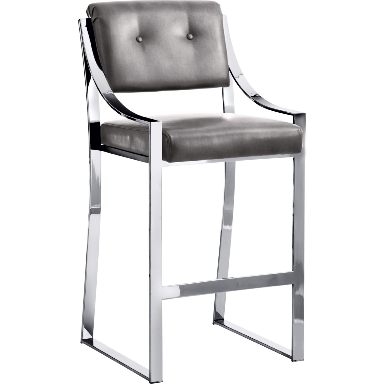 Savoy Bar Stool In Grey Leather W Polished Stainless Frame By