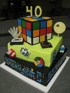 40th birthday cakes for men 80s theme Google Search 40th