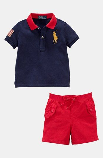 Polo Ralph Lauren Boys Navy Blue Embroidered Graphic Shorts