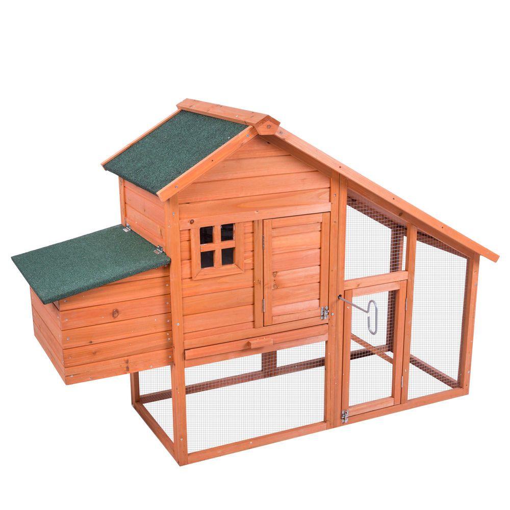 Wooden Chicken Coop Rabbit Hutch W Run Hen Poultry Ark House Nest