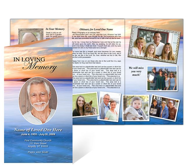 Funeral Memorial Pamphlet In Trifold Brochure Layout And Format