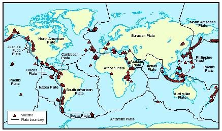 Map of the active volcanoes around the world. Notice how the