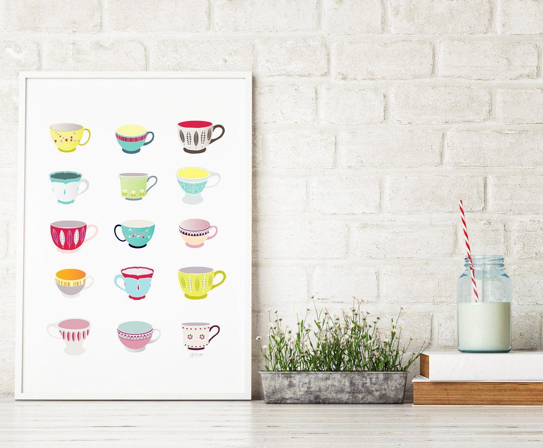 Teacups print kitchen decor wall art poster teacups print