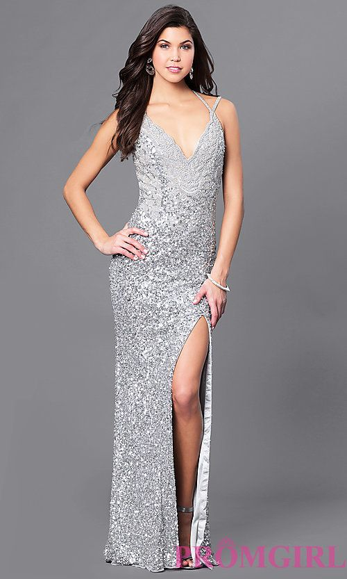 a9f637161bb Sequin Long Open Back V-Neck Prom Dress