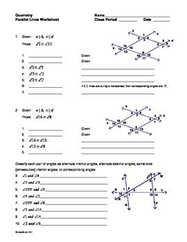 Parallel Lines with Transversals Worksheet | Pinterest | Worksheets ...