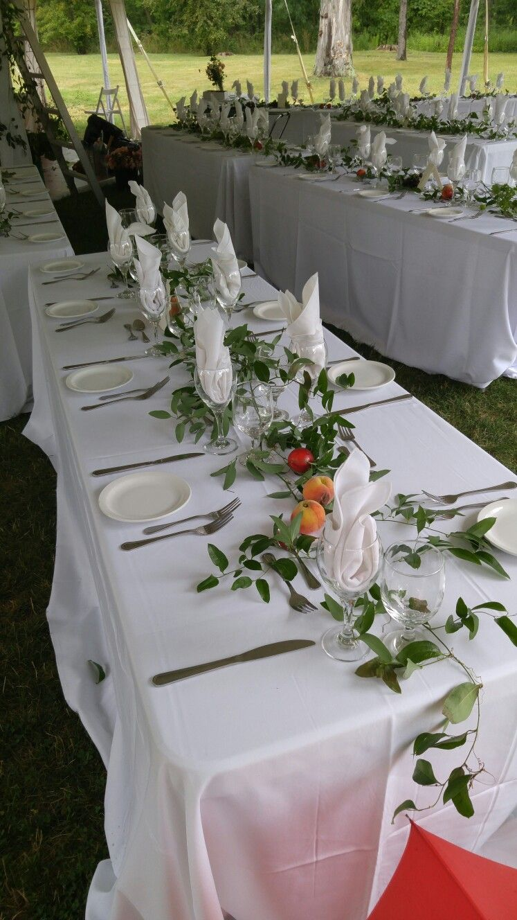 Simple elegant table setting at Ruthven Park wedding Summer of 2016 ...