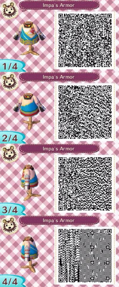Acnl Impa S Armor Qr From Hyrule Warriors Pトiれce Designs Animal Crossing Qr Codes Animal Crossing Animal Crossing Qr
