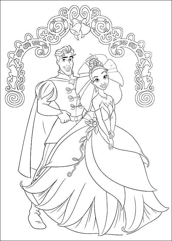 Princesa Tiana para Colorear con el Sapo y Amigos | dibujos para el ...