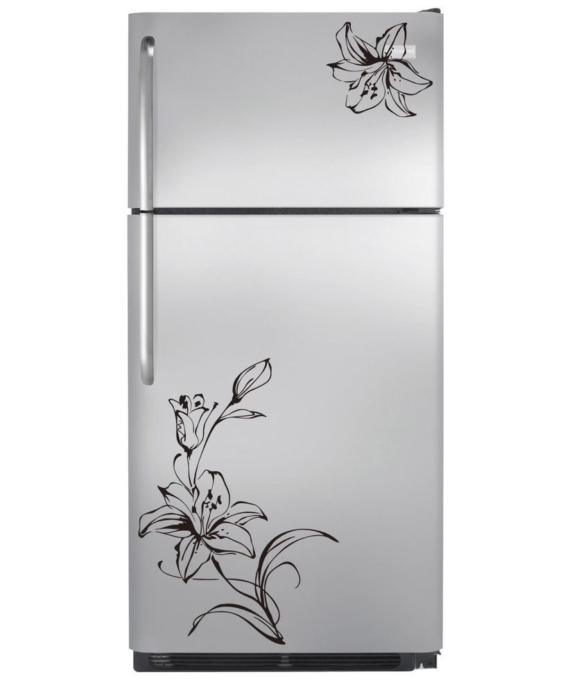 Refrigerator Stickers Flower Refrigerator Decoration Vinyl Wall Stickers Art Decal Home