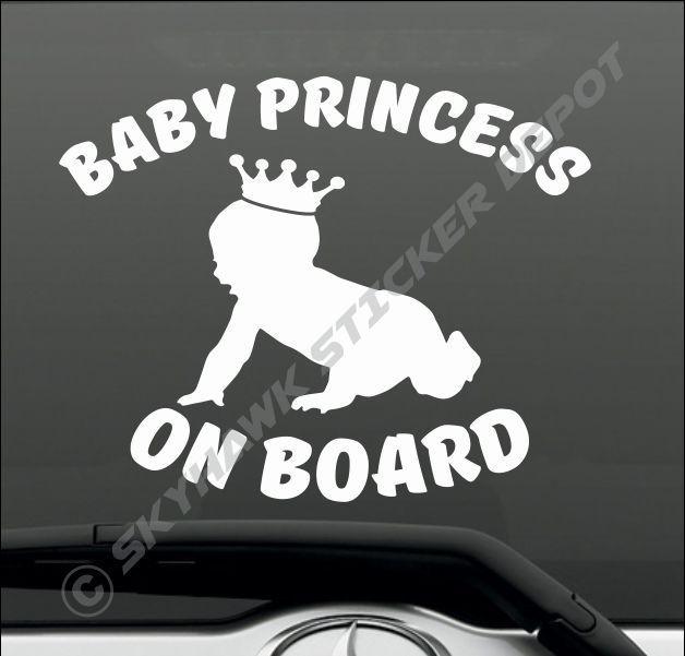 Baby Princess On Board Bumper Sticker Vinyl Decal Girl Tiara Car Truck Van Decal