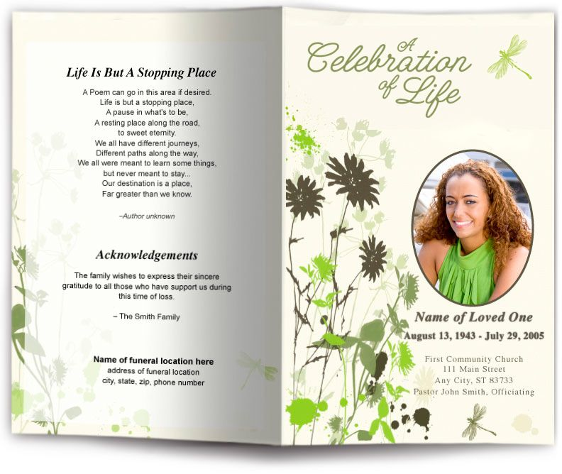 Dragonfly Funeral Program Template  Dragonfly Design Memorial