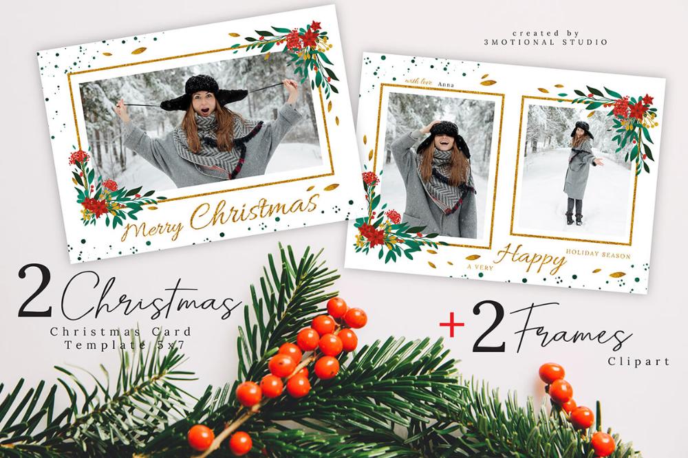 Merry Christmas Card Photoshop Template 5x7 Filtergrade Christmas Photo Card Template Christmas Card Photoshop Christmas Card Template