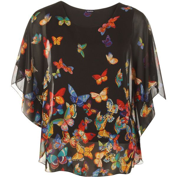 Nila Chiffon Lined Butterfly Top ($25) ❤ liked on Polyvore featuring tops, black, black top, sleeveless tops, batwing sleeve top, chiffon top and evening wear tops