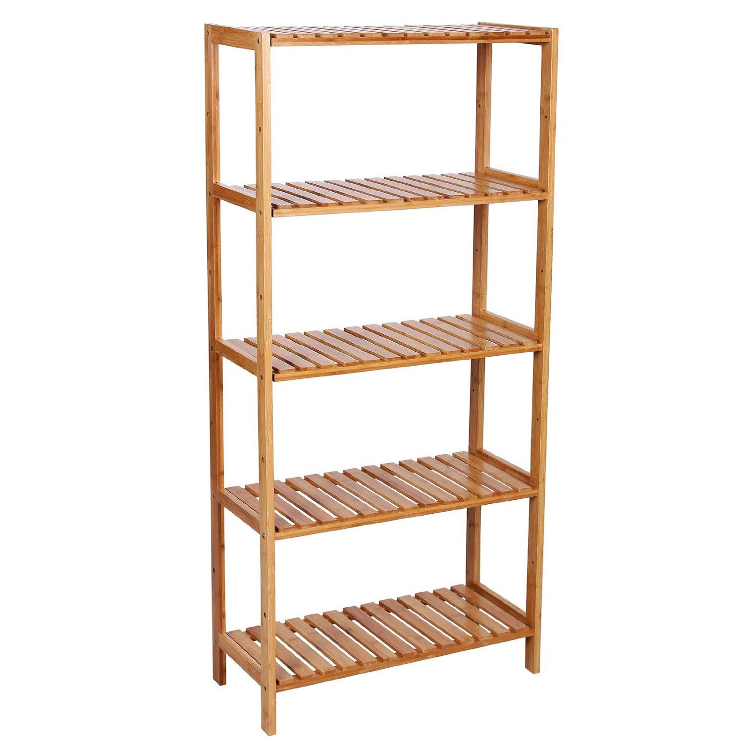 songmics 5 tier bamboo bathroom shelf unit storage stand shelves shoe rack 130 xu2026