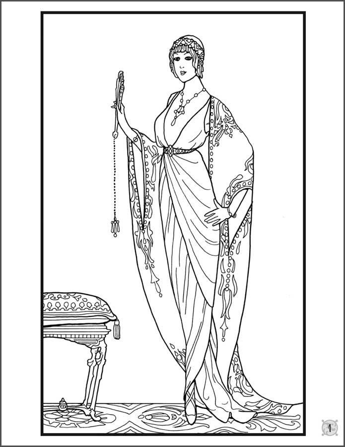 paris-fashion-designs-1912-1913-coloring-book-7.jpg (695×900) | Arto ...