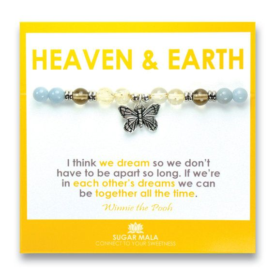 Heaven U0026 Earth Miscarriage Bracelet, Healing Gemstone Memorial Jewelry,  SIDS, Inspirational Quote Card