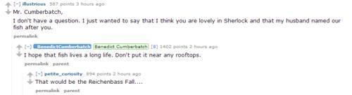 Trolling level 100. Highlight from Benedict Cumberbatch's AMA on reddit (10/11/13)