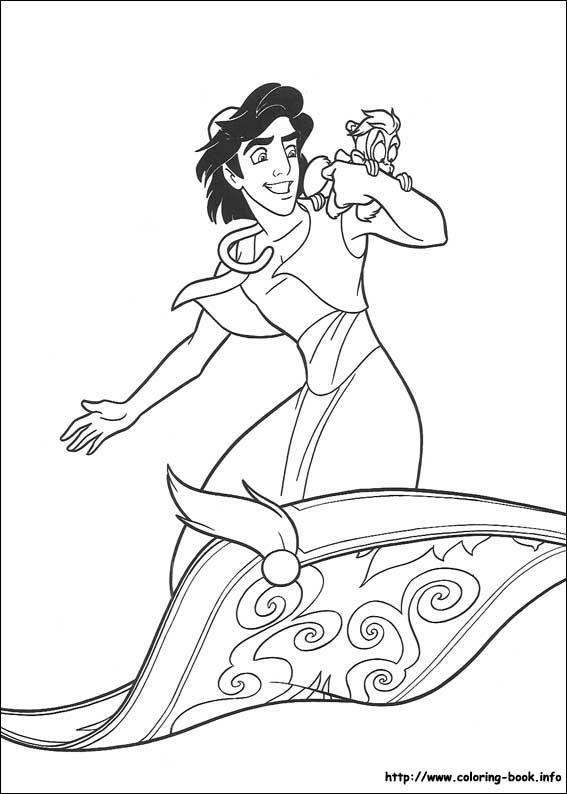 Aladdin And Abu Riding On The Magic Carpet Coloring Page Disney