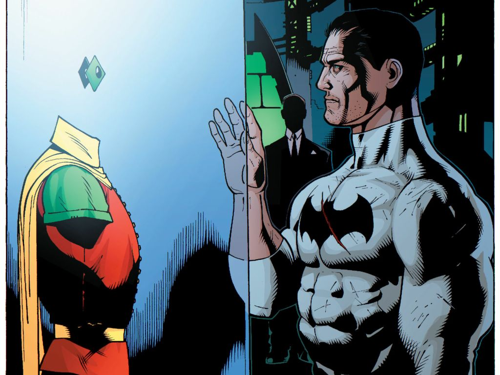 Bruce Wayne and Jason Todd's Robin suit in the Batcave  | DC