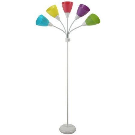 Mainstays White 5 Light Floor Lamp With Multi Colored Shades Walmart Com 5 Light Floor Lamp Eclectic Bedroom Floor Lights