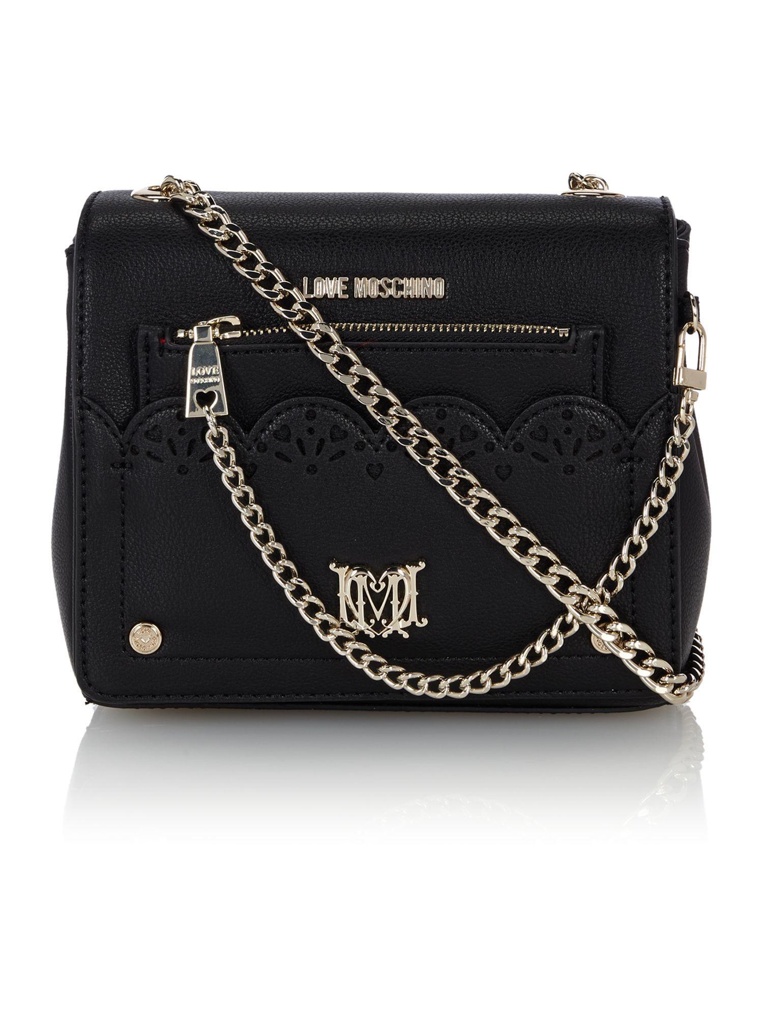 76abc192e67 Love moschino Black Small Cut Out Cross Body Bag in Black #bag ...