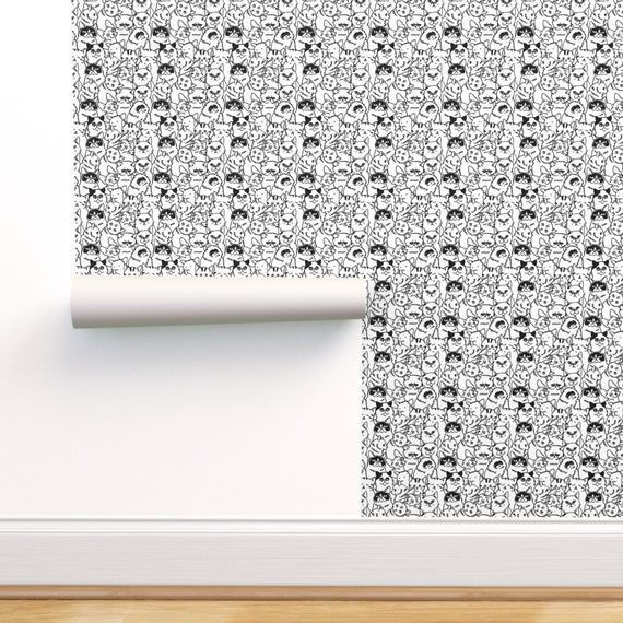 Black And White Cats Wallpaper - Oh Cats  by huebucket - Kitten Drawing  Cute Kids Room Monochrome Kittens Wallpaper Roll by Spoonflower#black #cats #cute #drawing #huebucket #kids #kitten #kittens #monochrome #roll #room #spoonflower #wallpaper #white