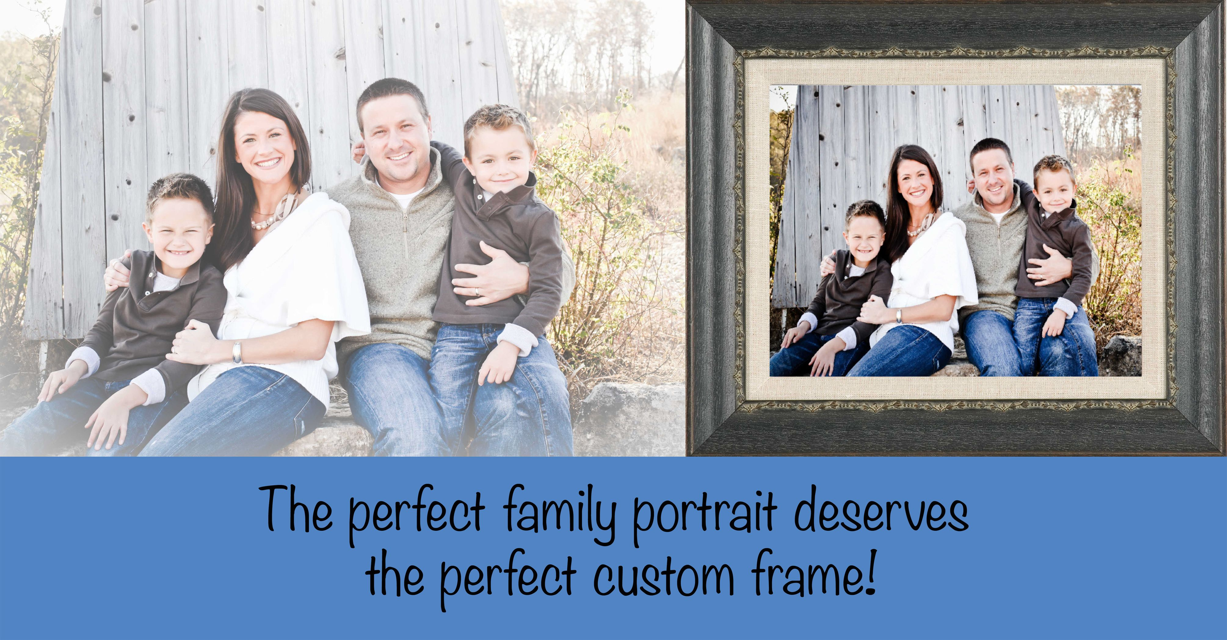 We can help you frame your family portrait to display for years to come! #frame #familyphotos #family #customframing #memories