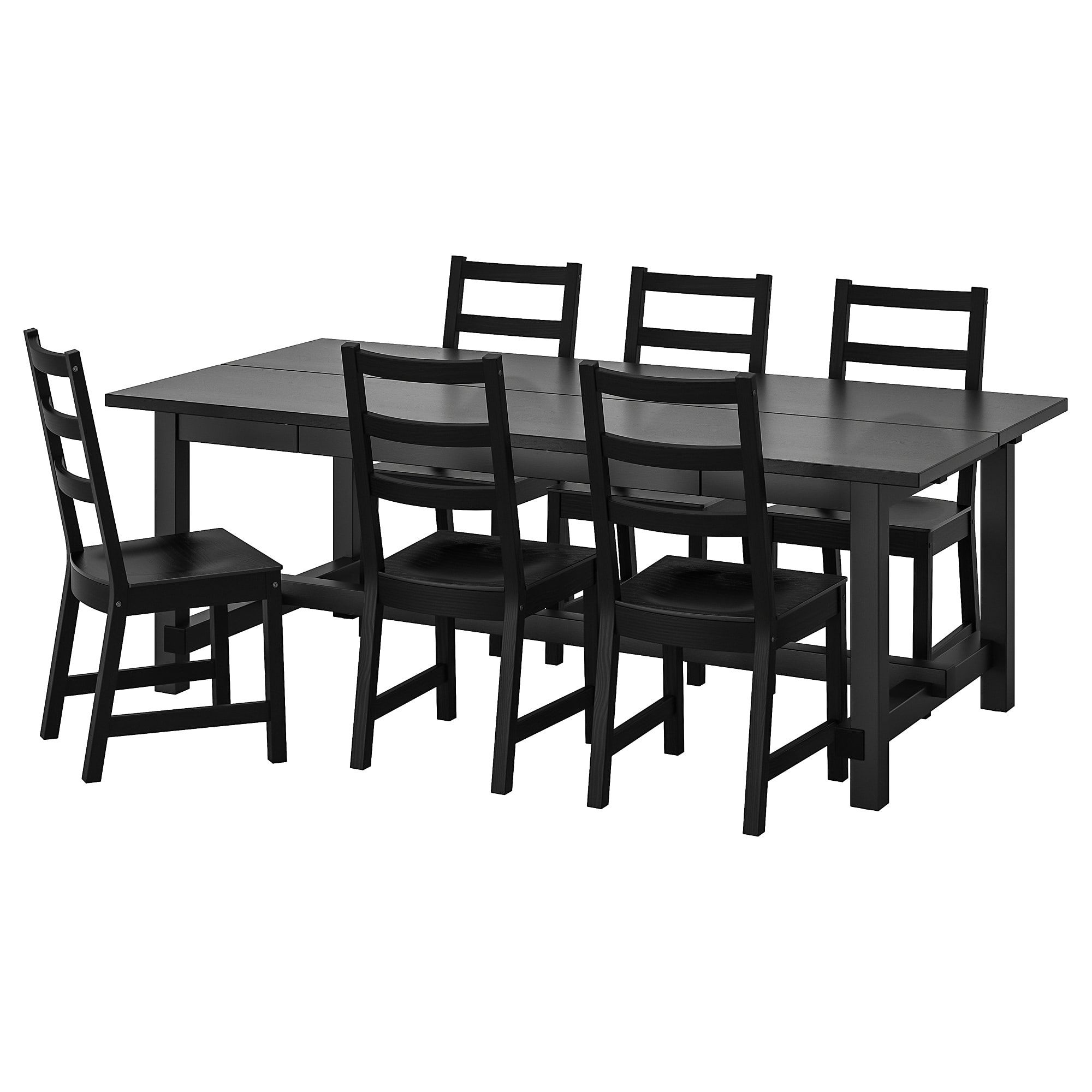 NORDVIKEN / NORDVIKEN Table and 6 chairs black, black 82