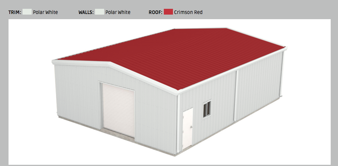 Red Metal Roof. Customizable barn. Build your own metal shop ...