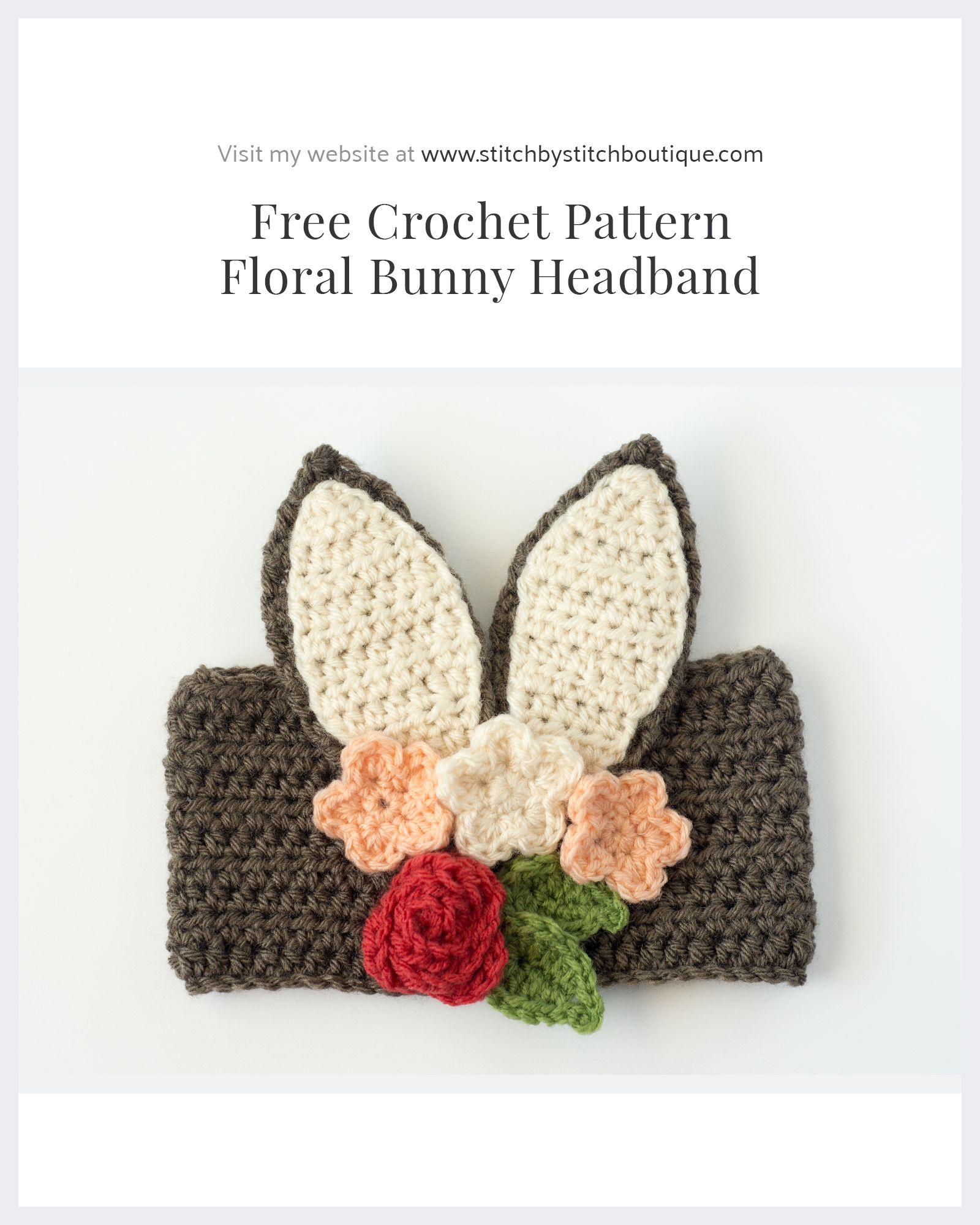 Free Crochet Floral Bunny HeadbandI really love how adjustable this ...