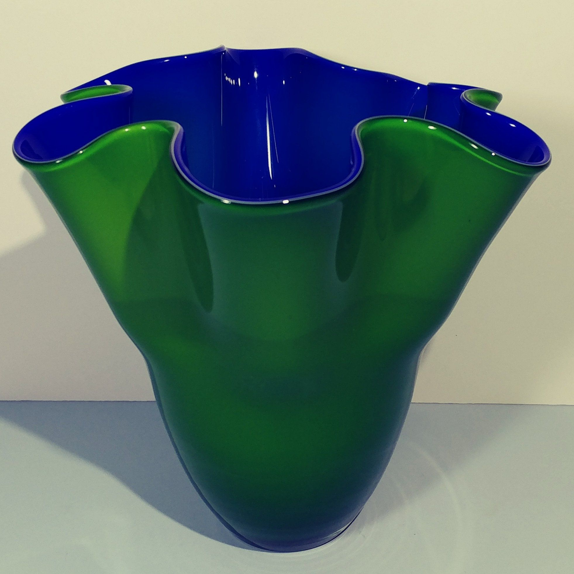 7 Tall Emerald Green Cobalt Blue Vase Hand Blown Cased Etsy Cobalt Blue Vase Blue Vase Hand Blown