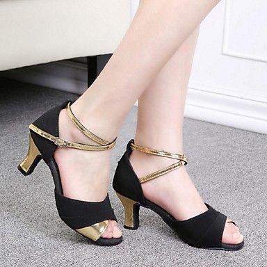 c5ea438dba5 Women's Latin Salsa Ballroom Satin Sandal Buckle Customized Heel Red ...