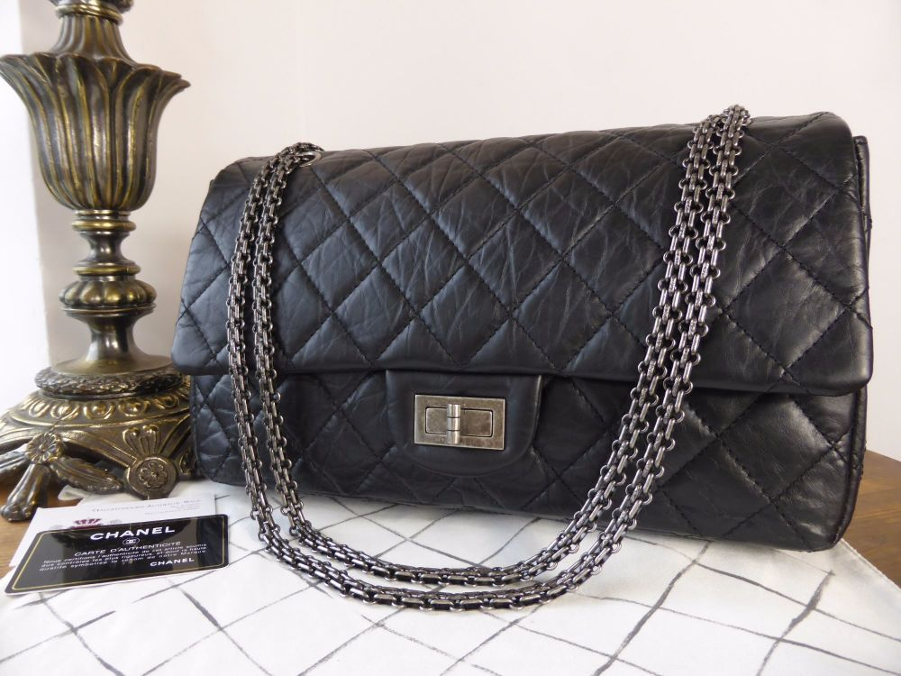 8ab35f93dd3d37 Chanel 2.55 Reissue 227 Jumbo Flap in Distressed Black Calfskin >  https://