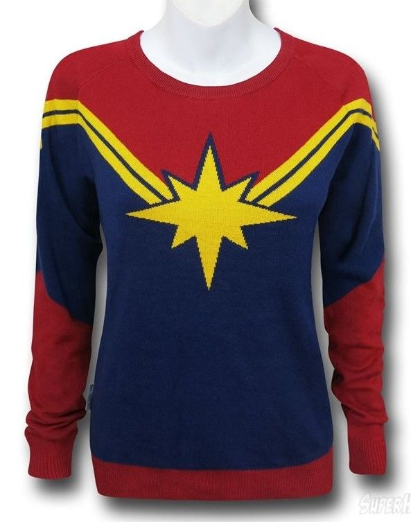 2dea3de342a15 CAPTAIN MARVEL (women s) Sweater based on the current costume. This would  be cool as a long sleeve t-shirt in Men s sizes