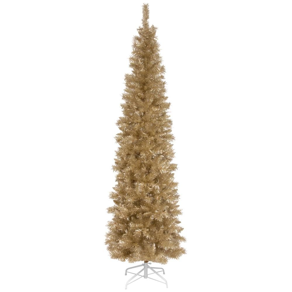 National Tree Company 6 Ft Champagne Tinsel Artificial Christmas Tree Tt33 702 60 The Home Depot Tinsel Christmas Tree Artificial Christmas Tree Christmas Tree Bedding