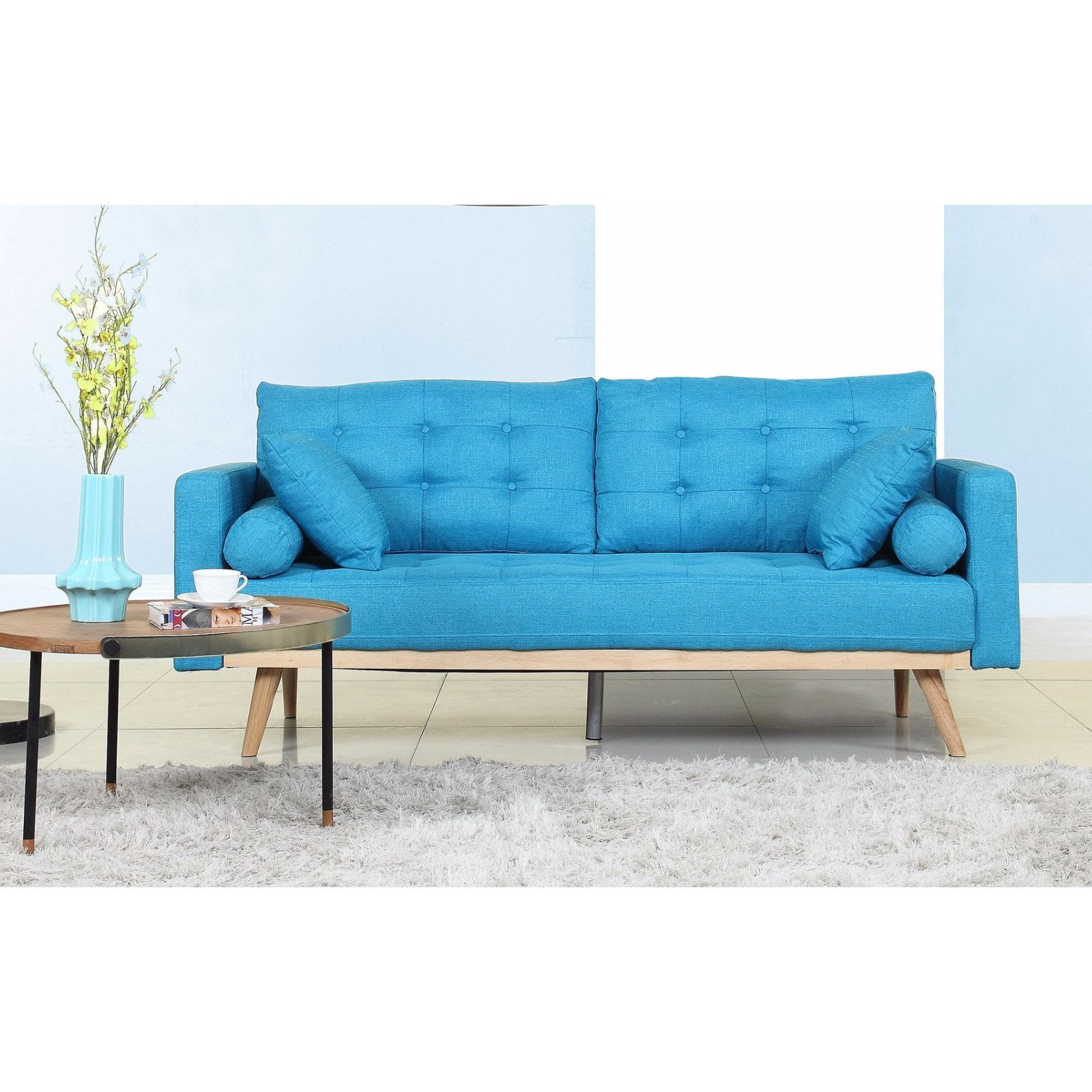 Incroyable Madison Tufted Linen Mid Century Modern Sofa (Light Blue) (Fabric)
