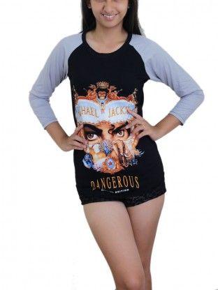 "Michael Jackson Pop Rock DIY ""Dangerous"" Baseball T-Shirt Top."
