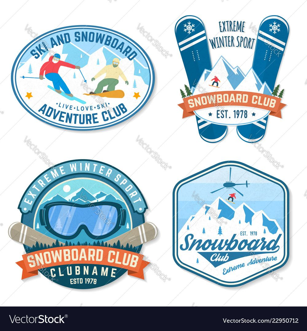 Set Of Snowboard Club Patches Concept For Vector Image Affiliate Club Snowboard Set Vintage Typography Design Vintage Typography Mountain Silhouette