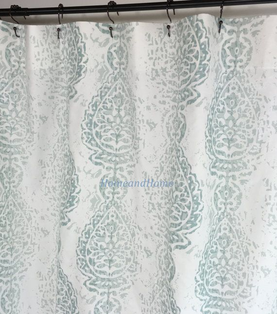 Shower Curtain Manchester Pale Aqua Snowy White 72x 84 108 Fabric
