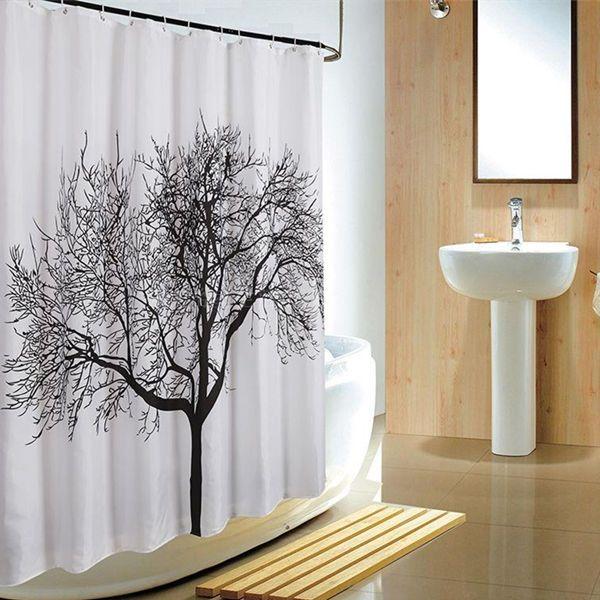 180 180cm Black Branch Tree Shower Waterproof Curtain Hook Bath