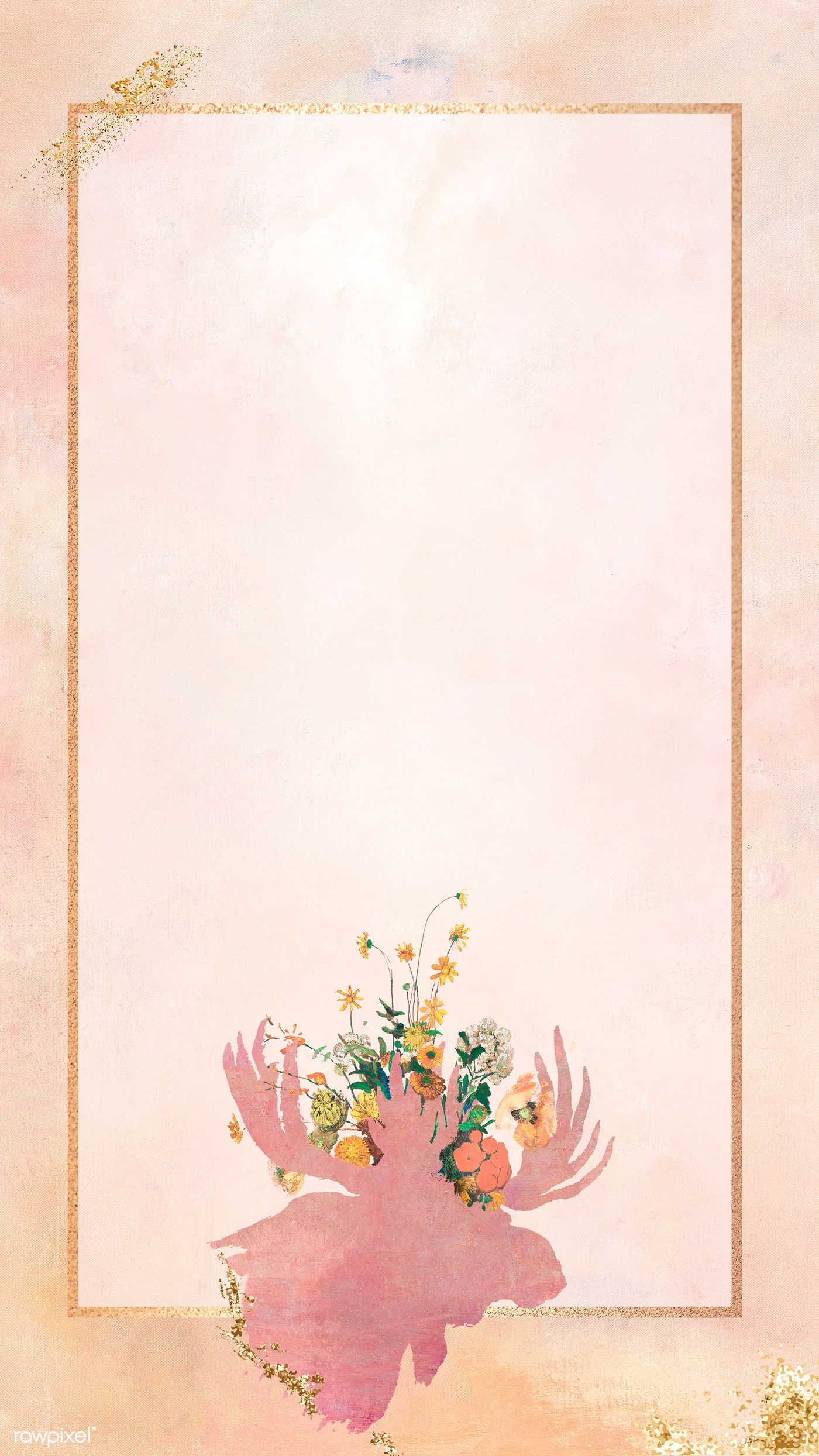 Download Premium Illustration Of Rectangle Frame With A Moose Head Silhouette Painting Flower Background Wallpaper Instagram Wallpaper