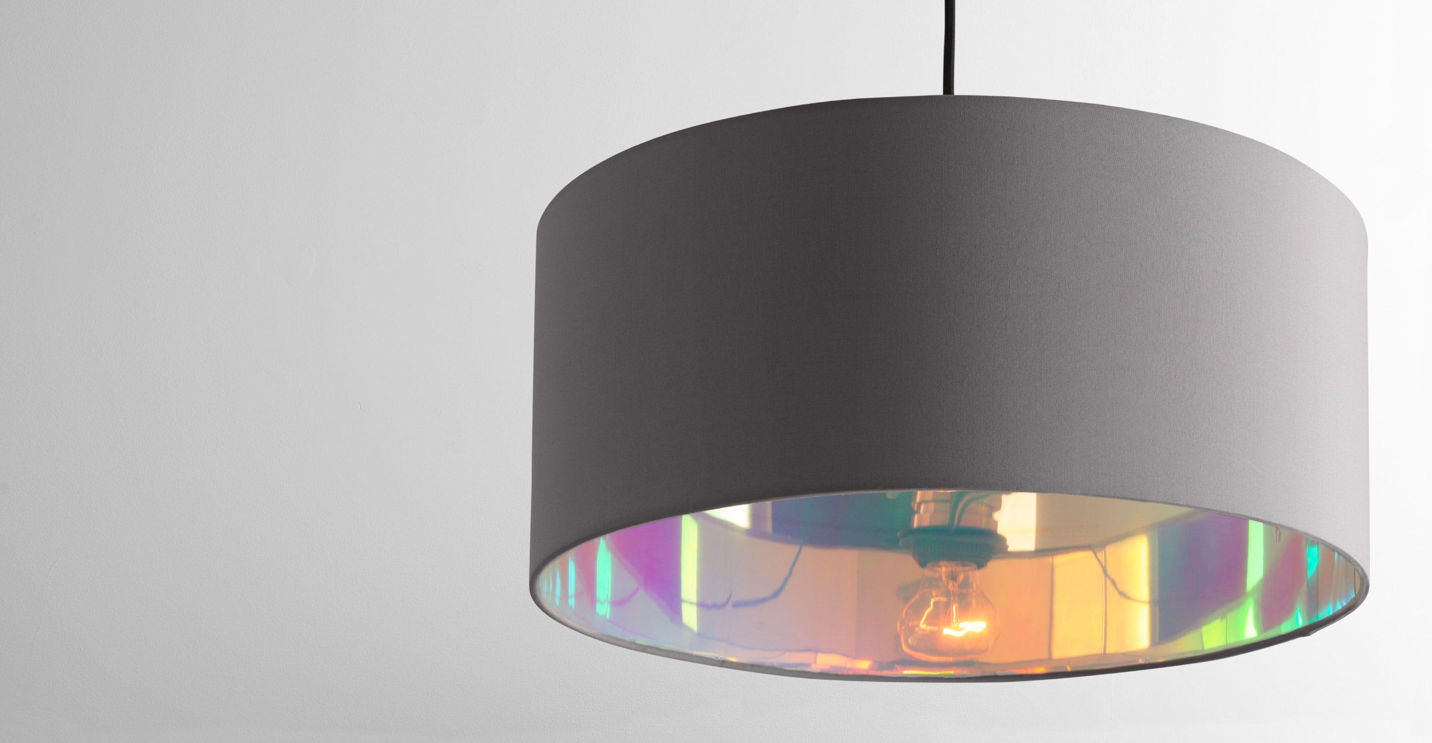 Oro Pendant Drum Lamp Shade Grey And Iridescent Ceiling Lamp