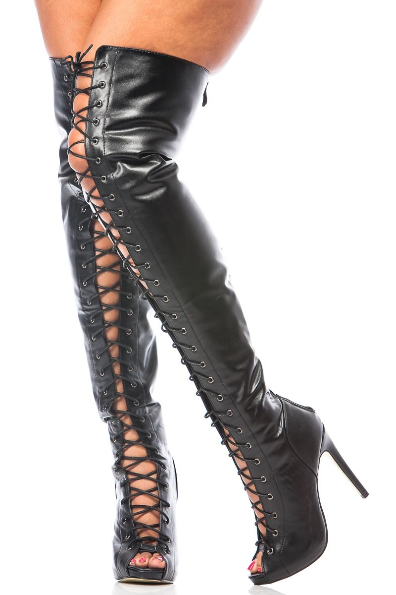 c875cea90a1d Black Faux Leather Thigh High Lace Up Boots   Cicihot Boots Catalog women s  winter boots