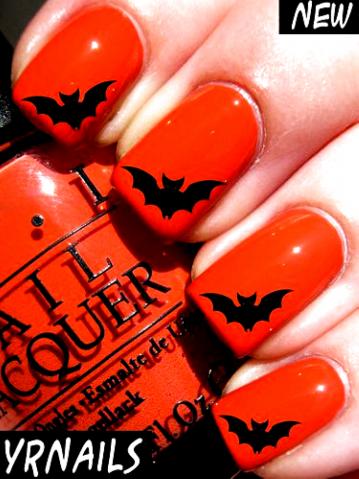 Nail Wraps Nail Art Water Transfers Decals Halloween Bat H003 Ebay Nails Acrylic Fall Colors In 2020 Bat Nails Art Halloween Bat Nails Cute Halloween Nails