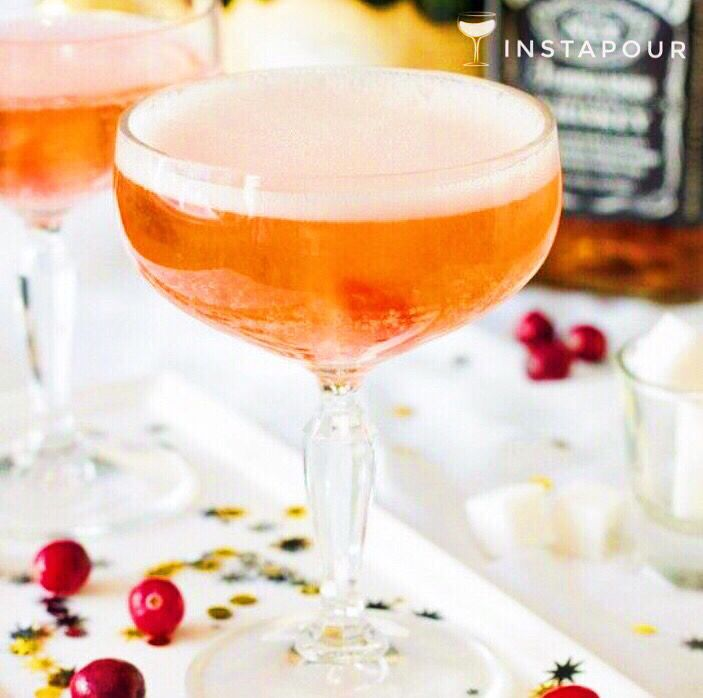 #ChampagneWeek2016   ● NAME: Whiskey Champagne #Cocktail ● CREDITS: EVite ● DETAILS: #Whiskey, #Champagne, Cranberry #Bitters, Sugar Cube  Instapour.com