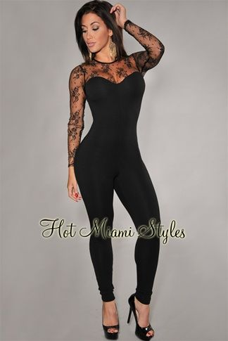 9c5c065010 Black Fitted Lace Accent Jumpsuit Womens clothing clothes hot miami styles  hotmiamistyles hotmiamistyles.com sexy club wear evening clubwear cocktail  party ...