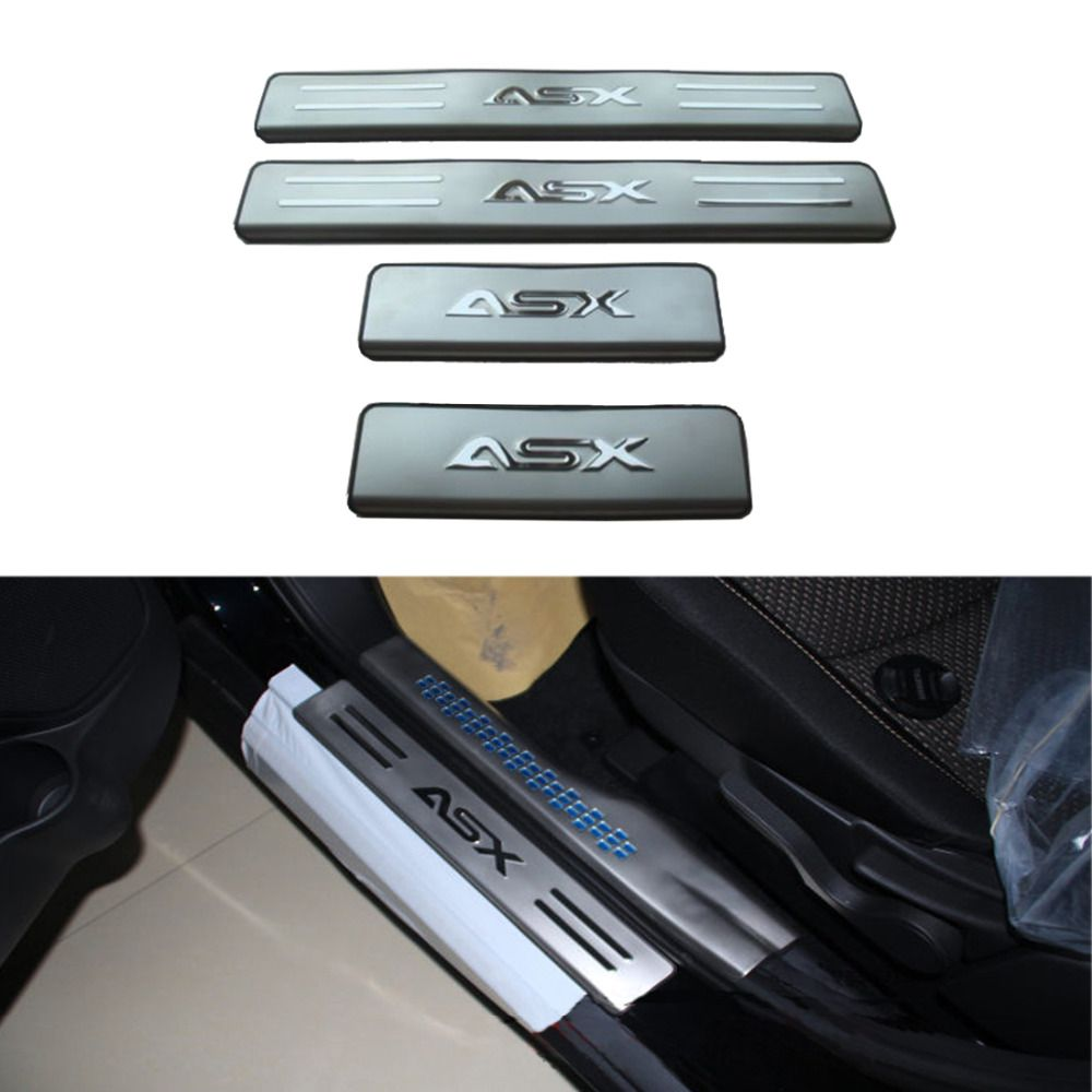 4pcs Chrome Door Sills Scuff Plate Entry Guards Stainless Steel