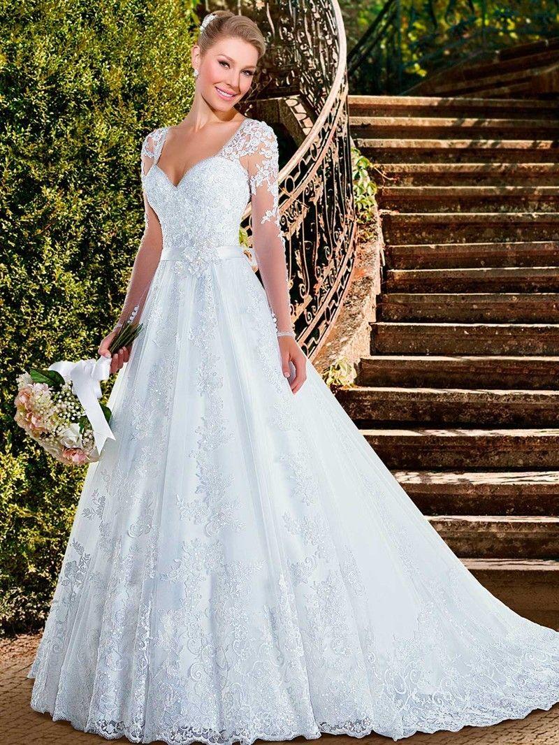 Ivory aline long sleeve vneck lace tulle wedding dress lace